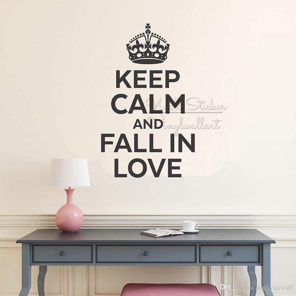 Keep Calm And Fall In Love Quote Wall Sticker Motivational Wall Quotes  Decal Removable Keep Calm Lettering Wallpaper Vinyl Q303 Wall Decals And  Murals ...