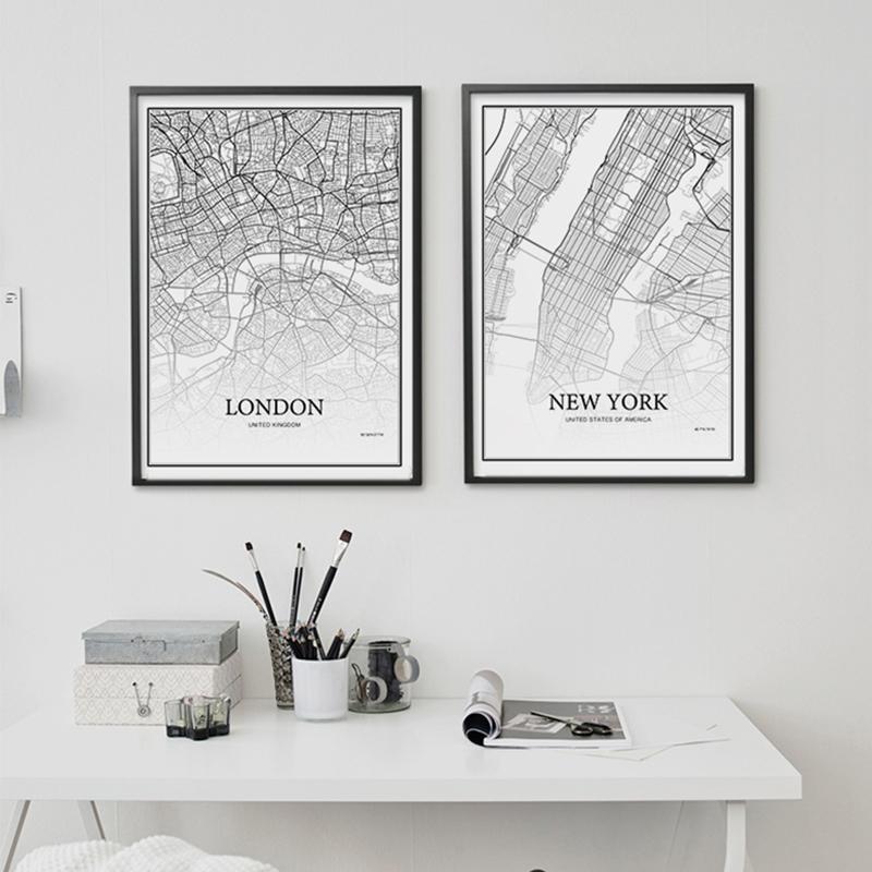 900D cartazes e cópias da parede da lona de arte pintura de parede Pictures Para Sala Nordic Decoração Cidade Grade Mapa YM008