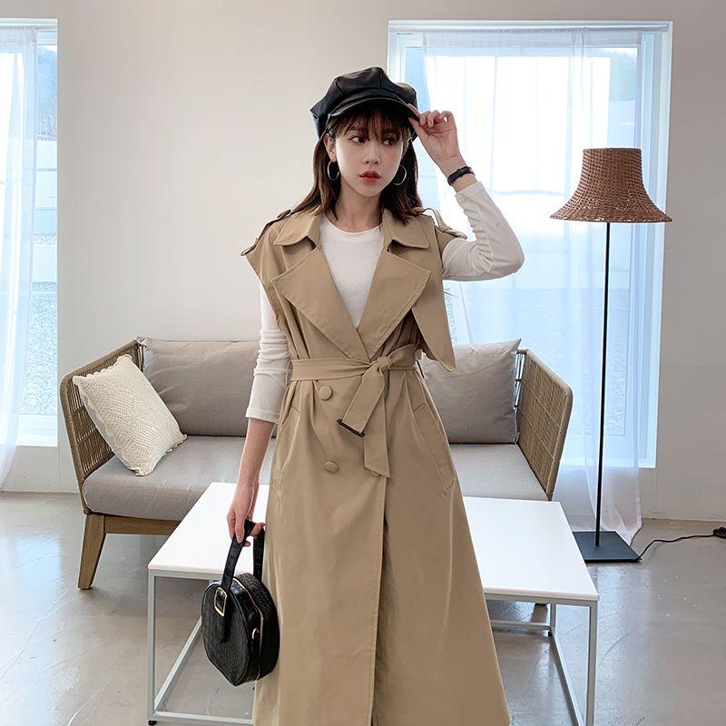 Womens Vest Sleeveless Jacket Long Length Over Knee Patch Designs Adjustable Waist Khaki Pockets Epaulet Double Breasted Loose