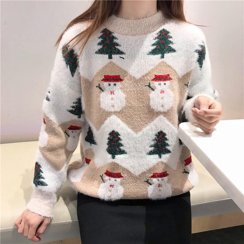 2019 Camisola feia do Natal casaco de outono e inverno nova espessamento moda hipocampo Natal camisola boneco camisola V191202 feminino