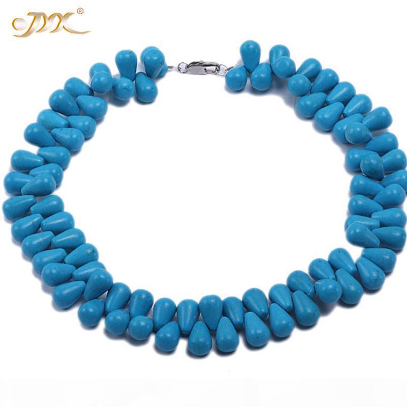 """JYX 2019 Colar especial Turquesa 12x18mm Gota Azul Forma Turquesa Colar Pedras Preciosas 17"""" Gemstone Beads 24"""" encantador"""