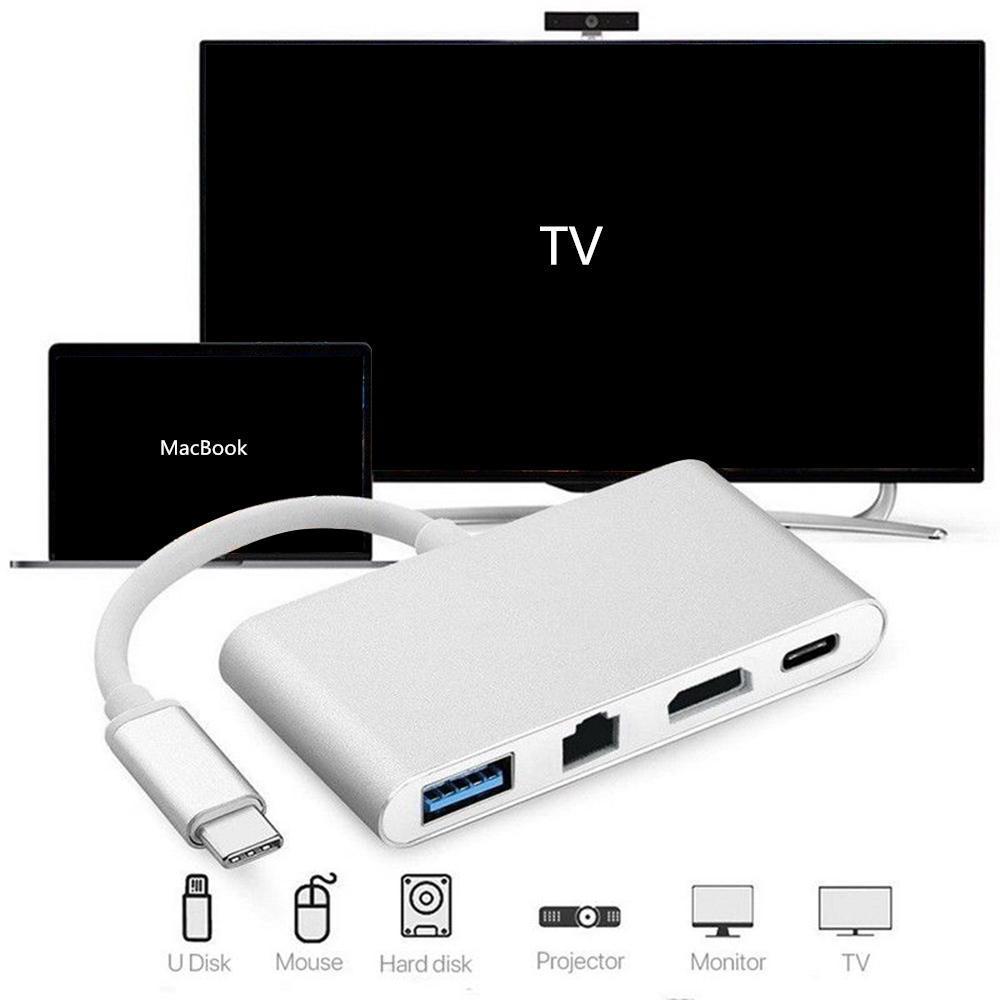 4 en 1 de type C vers HDMI 4K RJ45 Gigabit Ethernet USB 3.1 Type C HUB Adaptateur USB Splitter C Pour MACBOOK AIR HDTV Chromebook Pixel