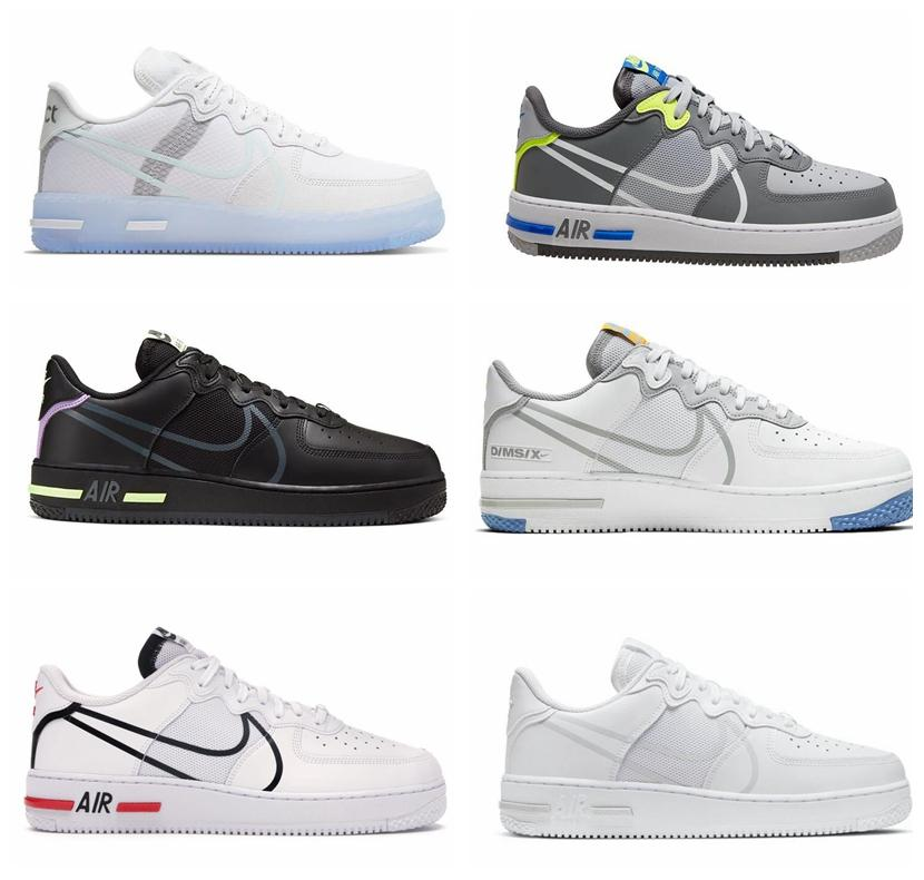 2020 New White Light Bone D/MS/X Men WomenAirForceMen 1 React 1s CQ8879-100 designer sneakers Casual Shoes Size 36-45