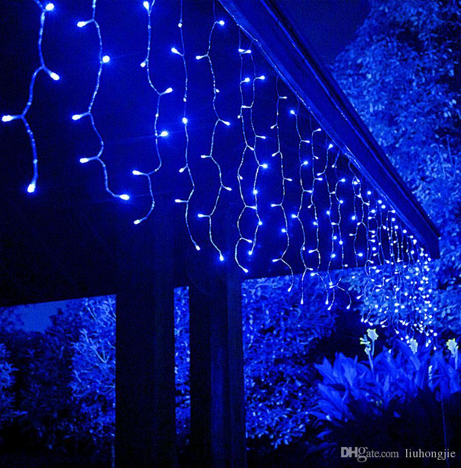 16 * 0,8 m Cortina Voltaje LED Luz de la secuencia del carámbano impermeable 24V Segura luz de hadas de la fiesta de Navidad Año Nuevo jardín Decoración del hogar con 8 modos
