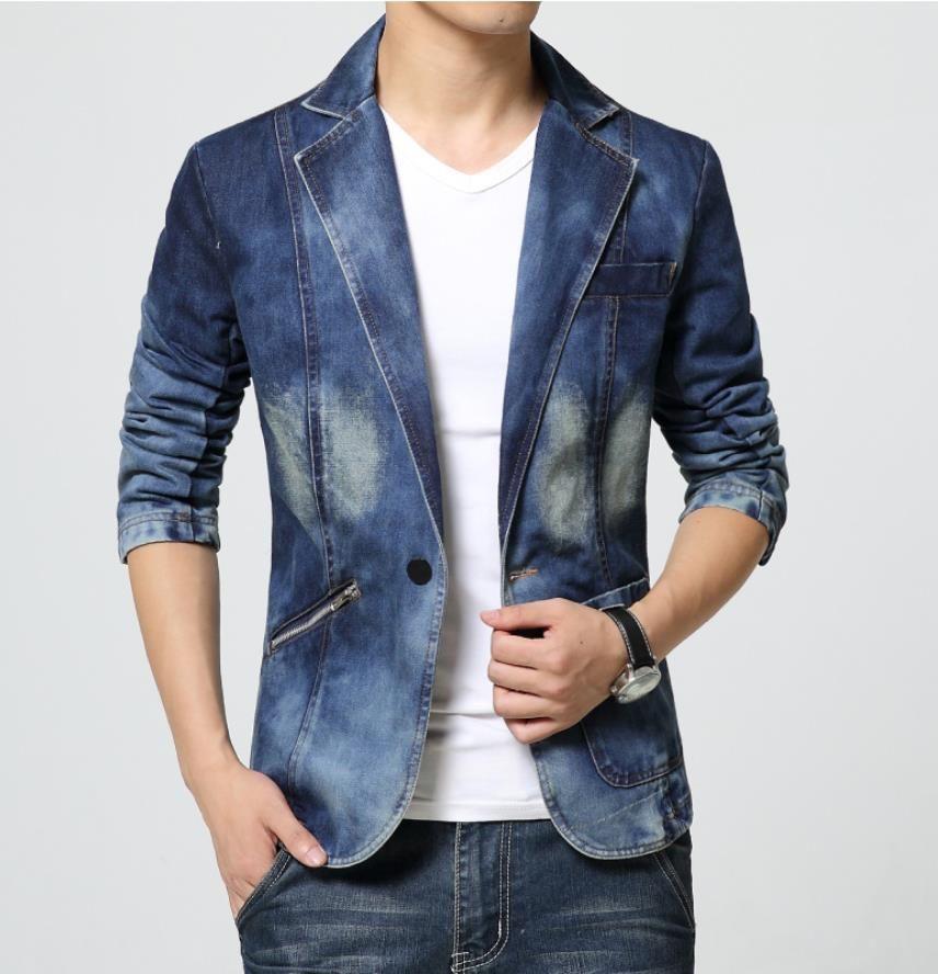 Blazer bleu Denim Costumes Hommes col en V Bouton simple 2019 zipper plan incliné mode vestimentaire Hommes Blazer convient veste manteau Livraison gratuite X0200