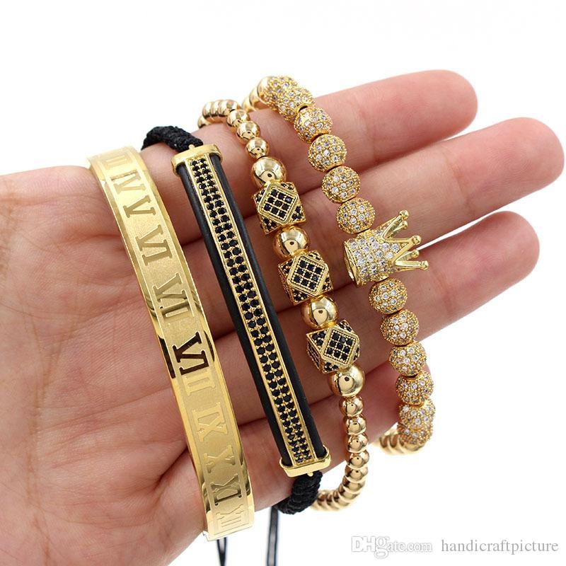 design di lusso mens gioielli bracciali braccialetto hip hop con la sfera della parte superiore del retro di modo punk di perline braccialetti vecchi pouplar
