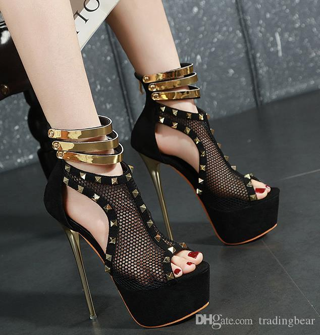 size 34 to 40 black gold rivets meashy hollow out platform ultra high heels fashion luxury designer women shoes with box