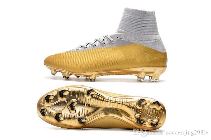 High Quality Mens/Woman/Kids Football Boots Superfly V TF/IC/FG Soccer Shoes Mercurial Superfly V CR7 Gold Soccer Cleat