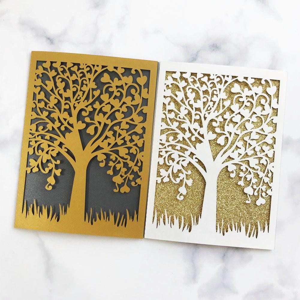 15pcs Sample Laser Cut Wedding Invitations Card 3D POP-UP Elegant Tree Leaf Greeting Card Wedding Party Favor Supplies