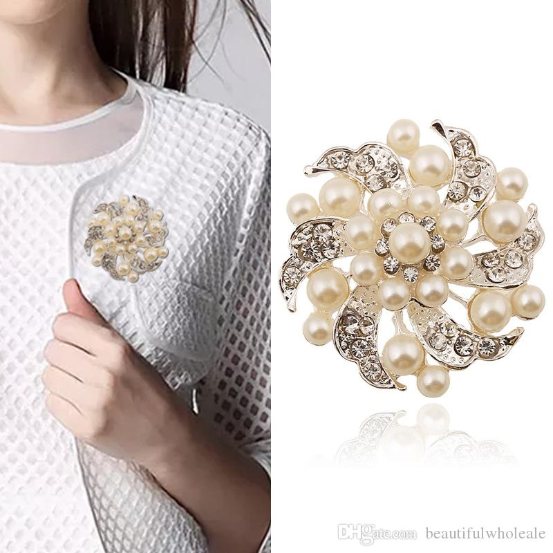 Broşlar çiçek inci Korsaj Rozeti Pimleri için Takım Elbise Düğün J Kadınlar için Moda Sevimli Broş Pin Broşlar Iyi Hediye Broş
