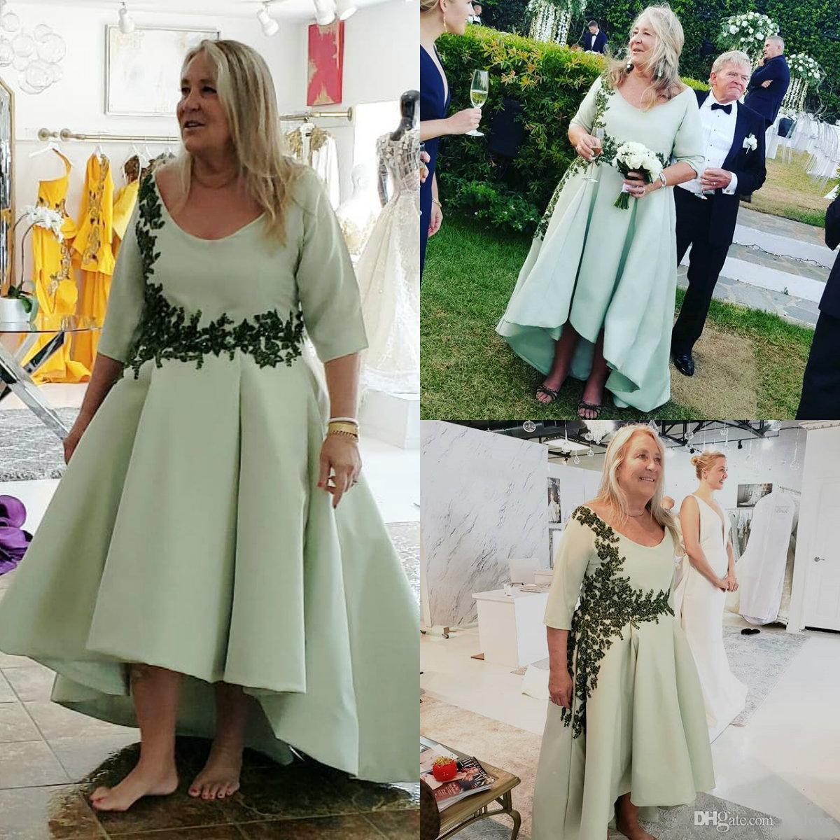 Plus Size Mutter der Braut-Bräutigam-Kleid-Low-Spitze-Satin-Halbarm mit U-Ausschnitt Hochzeit Guest Abend Abendkleider
