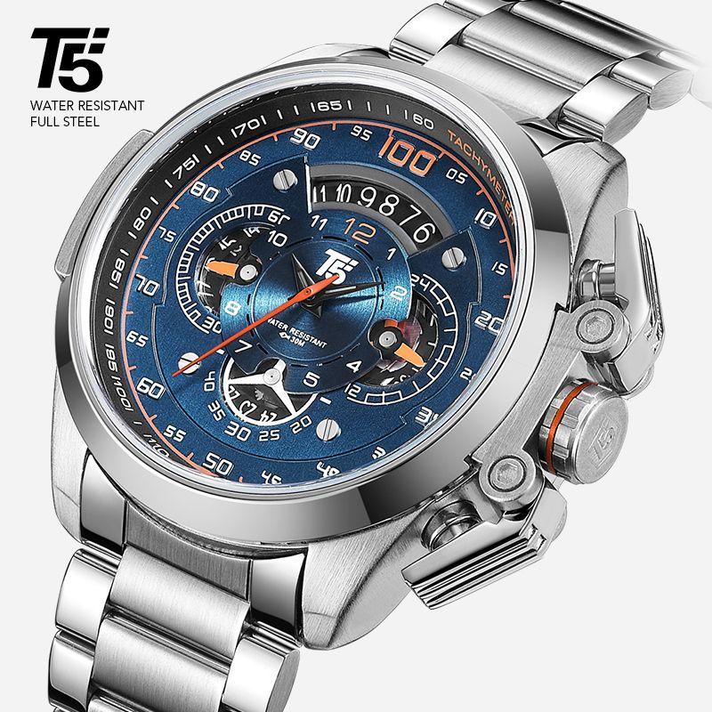T5 Marke Luxus-Schwarz-Gold Mann-Uhr-Militärquarz-Sport-Armbanduhr-Männer Chronograph Wasserdichte Herren-Uhren Sport-Armbanduhr