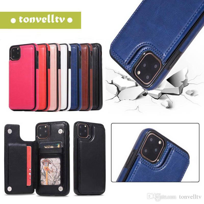 Für iPhone 11 X XS MAX XR 7 8 Plus-Mappen-Telefon-Kasten PU-Leder-Ständer-Karte Magnetverschluss für Samsung Galaxy S9 S10