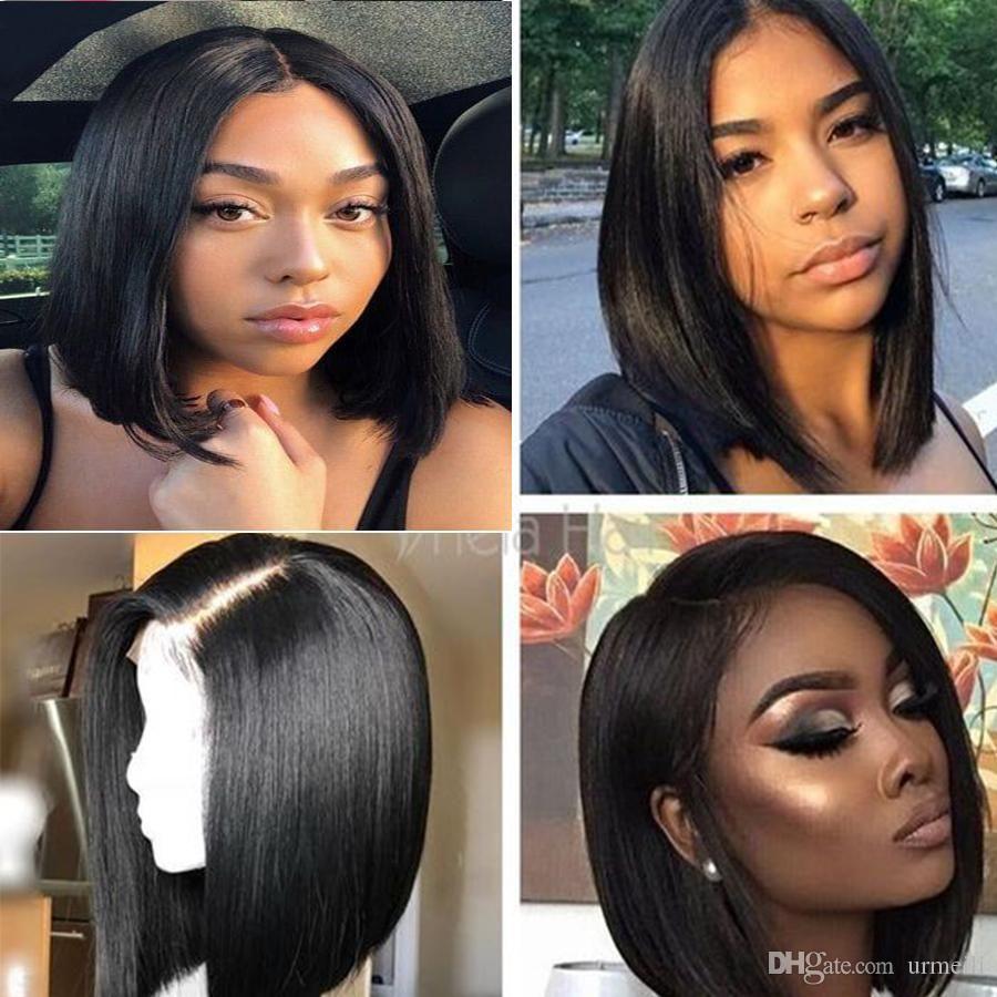 Short Bob Wigs For balck Women Lace Front Human Hair bob Wig Brazilian Unprocessed virgin silky Straight Hair 150% Density Wigs