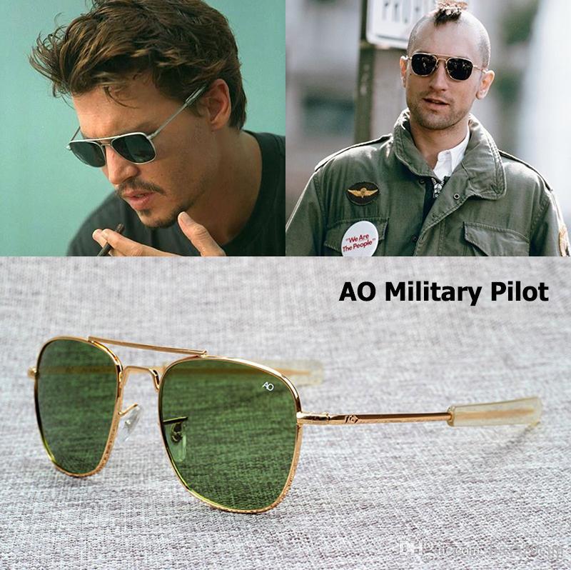 AO glaslinse Marke Army MILITARY Amerikanische optische Sonnenbrille James Bond Männer 12 Karat Gold Überzogene Luftfahrt Caravan Crystal G15 Sonnenbrille
