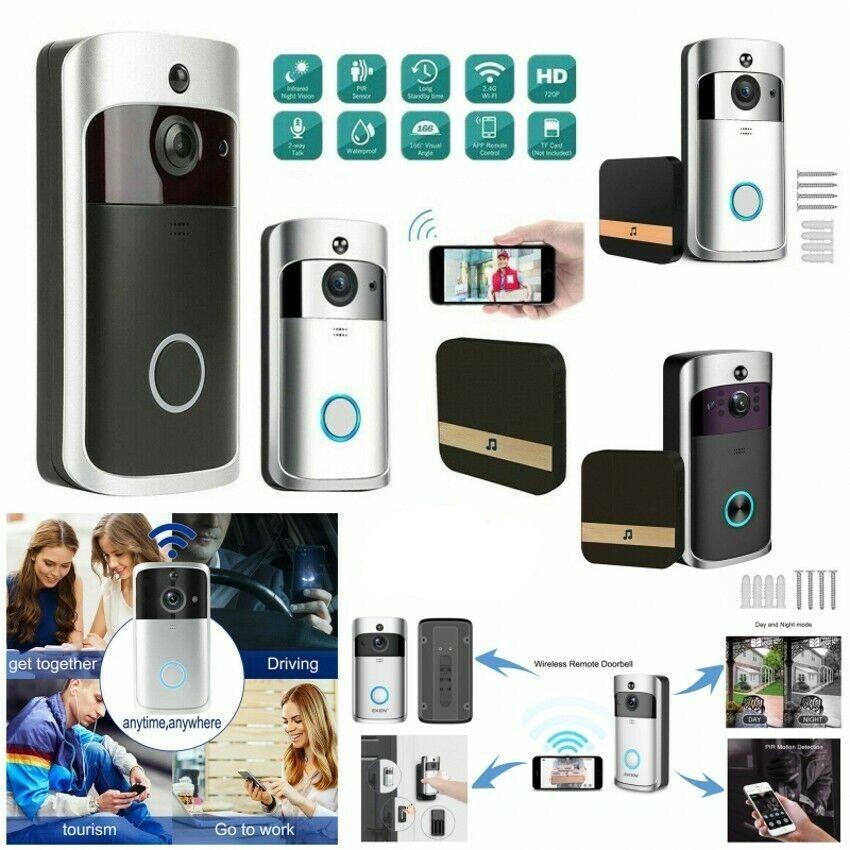 무선 WiFi 비디오 초인종 스마트 폰 문 링 인터콤 보안 시스템 IR 시각 HD 카메라 벨 방수 고양이 눈