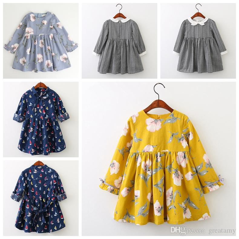 2019 new design baby girls long sleeve dress grid floral boat strawberry printed princess girls spring autumn skirts