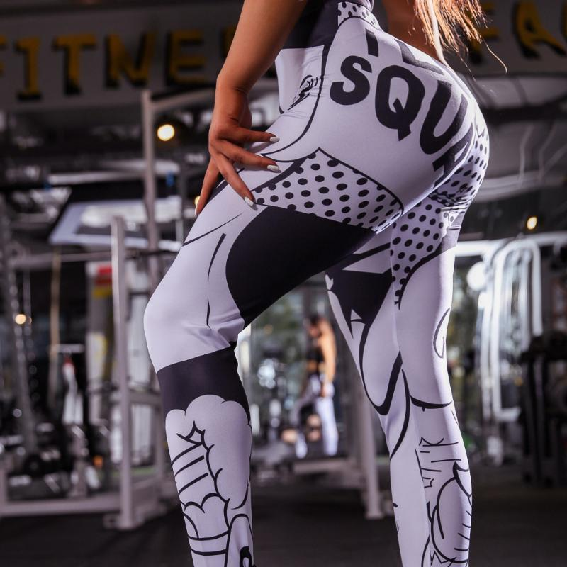 Ms Sports Training Pants in Black and White Printing of Tall Faster Yoga Legs Exercise Clothes for Women