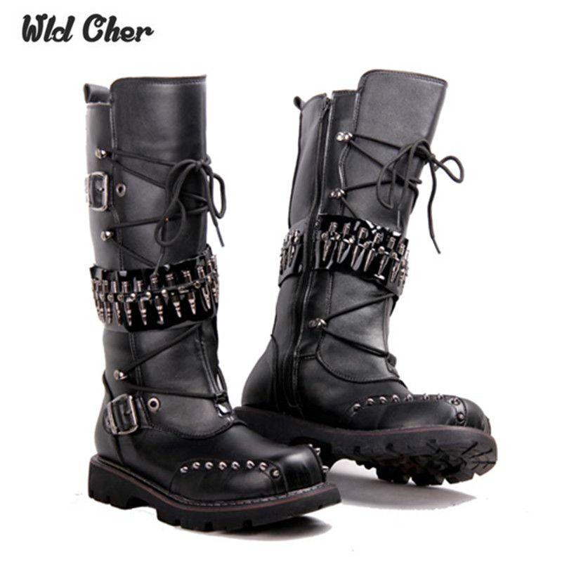 2017 punk sur le genou bottes pour hommes bottes bottes en cuir de vache naturelle hommes longues imperméables bottes de neige équestres moto