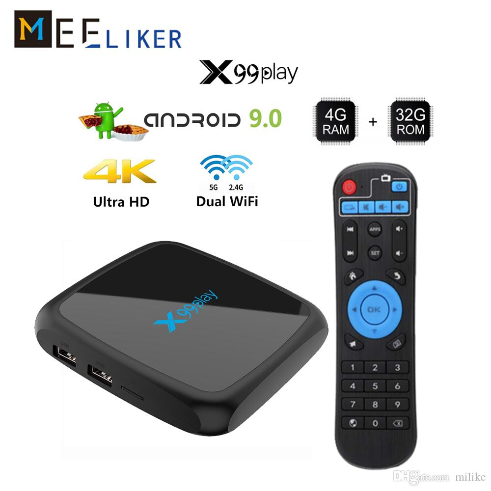 4G 64G TV Box Android 9.0 Smart TV-Box 32GB 2+16GB 2.4G 5G AC WiFi H.265 4K Ultra Media player x99play