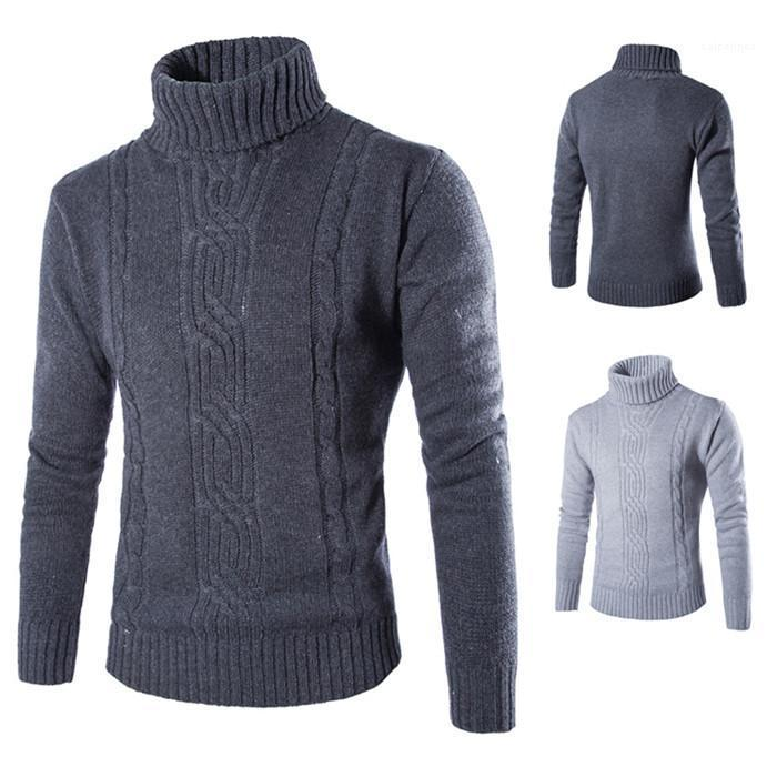 Mode cou tortue Jacquard Chandails Solide Couleur Grossier Laine Designer d'hiver British Wind Mens Pull Casual