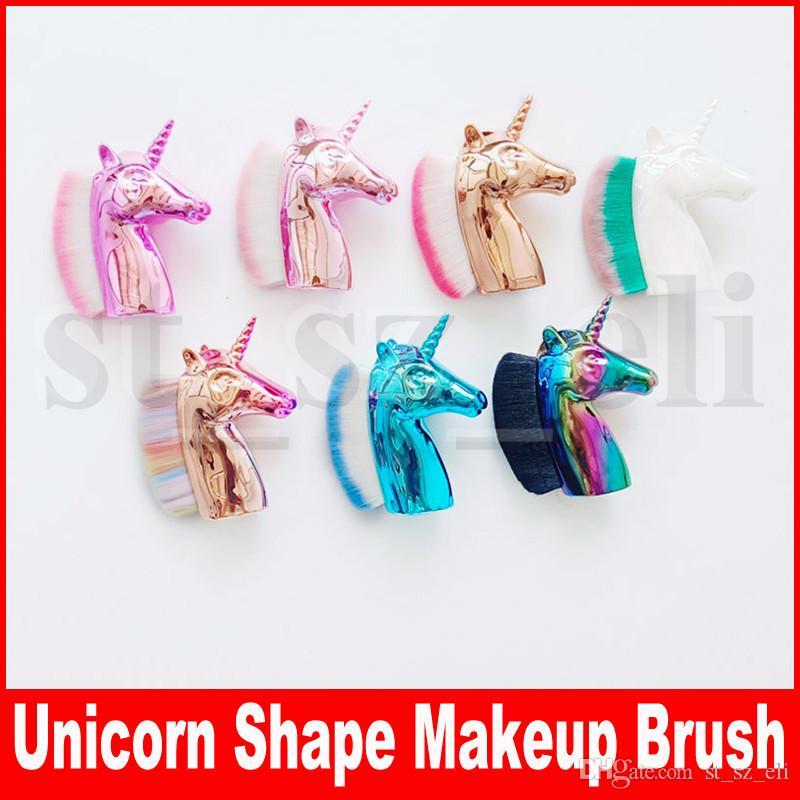 Beauty Unicorn Shape Makeup Women Powder Brush Single Soft Cosmetic Makeup Brush Loose Shape foundation make up brush