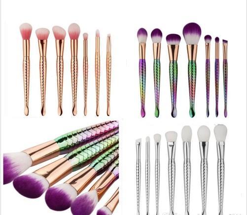 New Mermaid Makeup Brushes Kit Pó Contour Peixe Mermaidsalon Foundation Brush Set beleza Cosméticos Blush em pó compo a escova