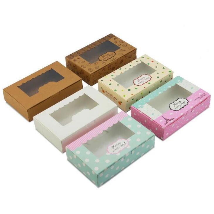 3 Größen wissen Karton Kraft Papier Süßigkeiten Box kleine Kraftkarton Papierverpackungen Box Craft Geschenk-Verpackung Box mit PVC-Fenster LX1870