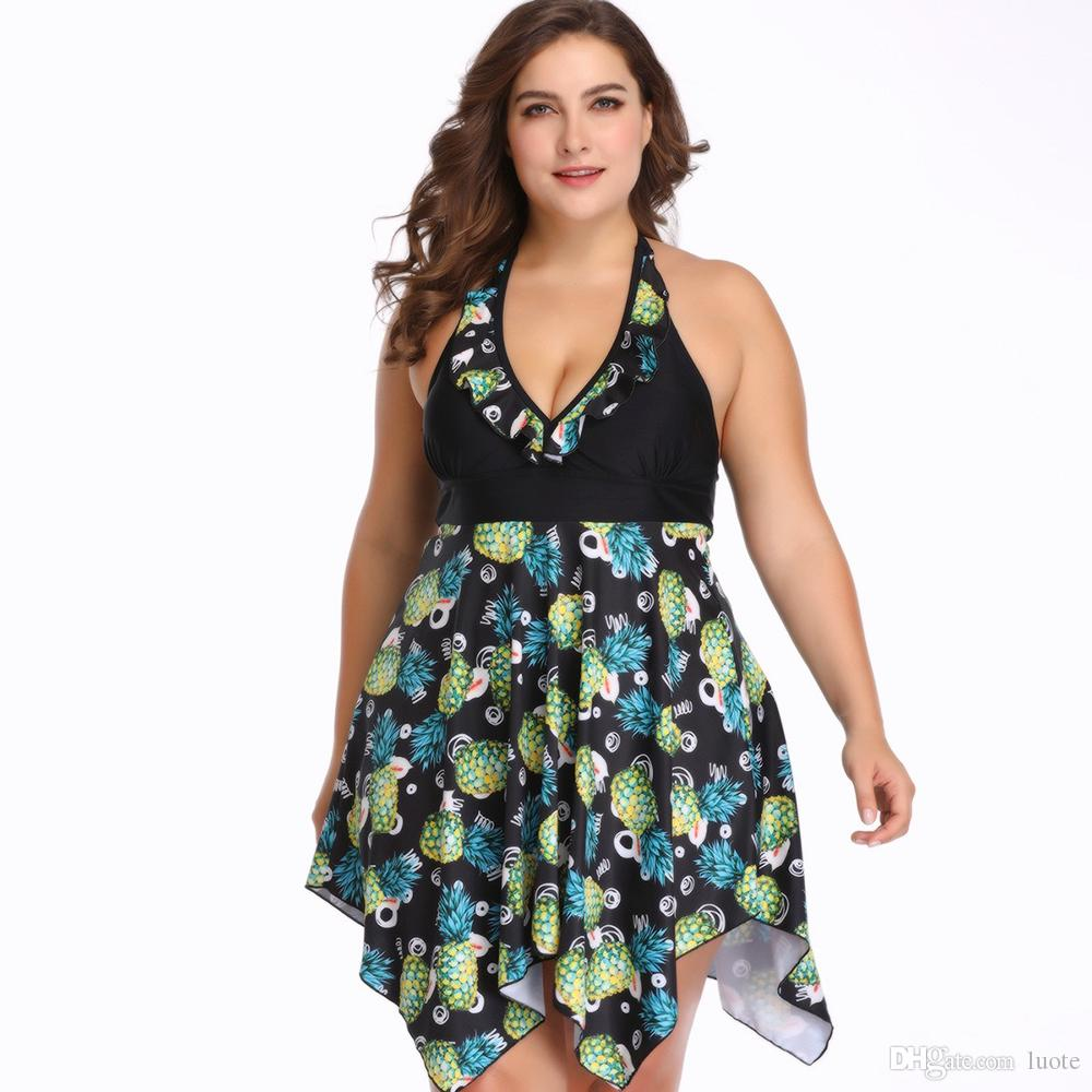 Frauen plus Größen-Badebekleidungs-Blumenhalfter-Badeanzug zwei Stücke Tankini-Badebekleidungs-reizvolle tiefe V-Ausschnitts-hohe Taillen-Badeanzug