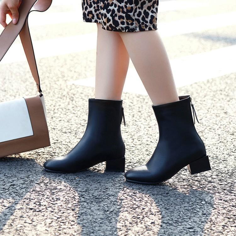 Botas de sobredimensiones zapatos de mujer tobillo para mujer mujer invierno retro cremallera colgante cuadrado cabeza