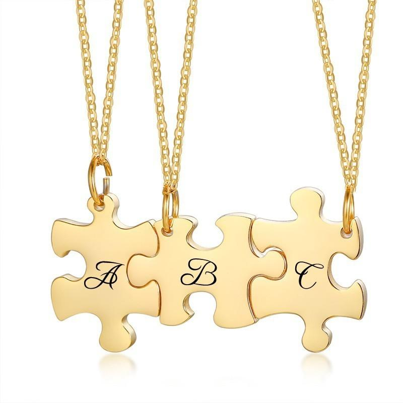 Personalized Puzzle Necklace Friendship Customized Pendant 3 Pieces Best Friends BFF Stainless Steel Bridesmaid Gift