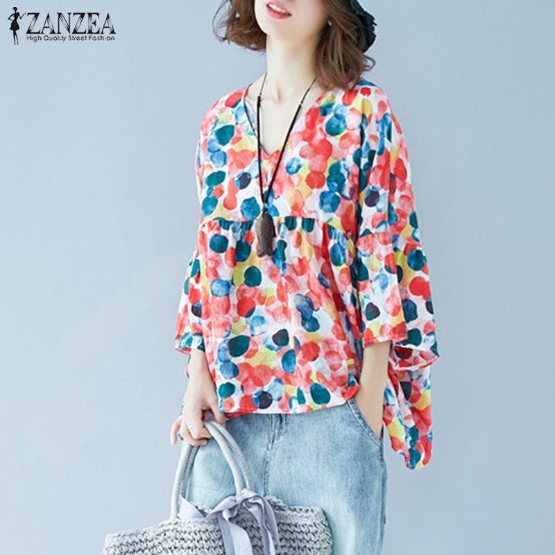 Casual Polka Dot Imprimé Tops Chemisier d'été de 2020 femmes Chemises ZANZEA Bawting manches Femme O cou plissé Blusas Mujer Tunique Y200623