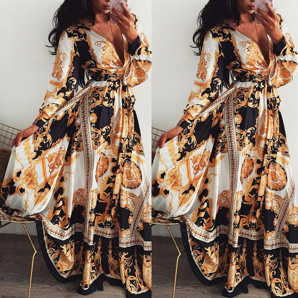 여성 봄 Boho 비치 인쇄 긴 소매 랩 드레스 숙녀 가을 휴가 섹시한 V 넥 긴 드레스