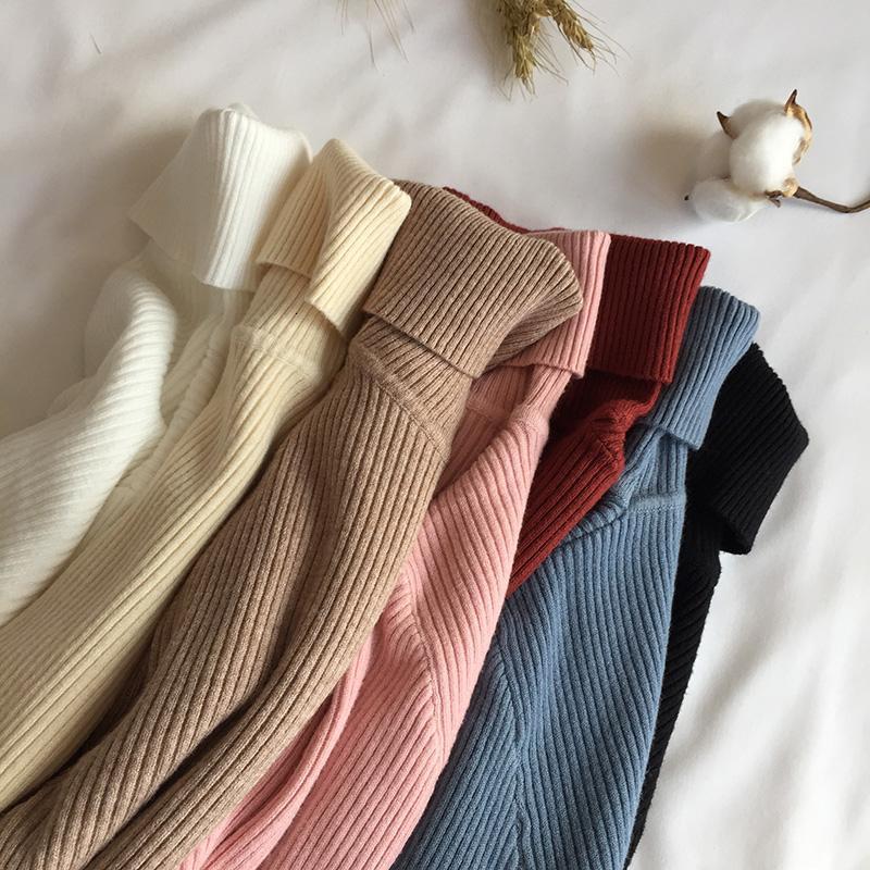 2019 Automne hiver épais pull épais femmes tricotées côtelé pull pull pull à manches longues turtleneck slim cavalier souple chaude chaude femme mx191101