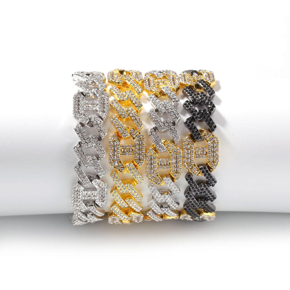 BLING BAGUETTE BAGUETTE 17MM Forme géométrique colorée Bracelet cubain Glafe Out strass Link chaîne Bracelets Alliage Mens femmes Hip Hop Bijoux
