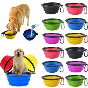 Dobrável Pet Feeding Dish bacia do cão de viagem do gato dobrável Pop Up Compact viagem Silicone Feeder Food Container Food Container 100pcs OOA6206