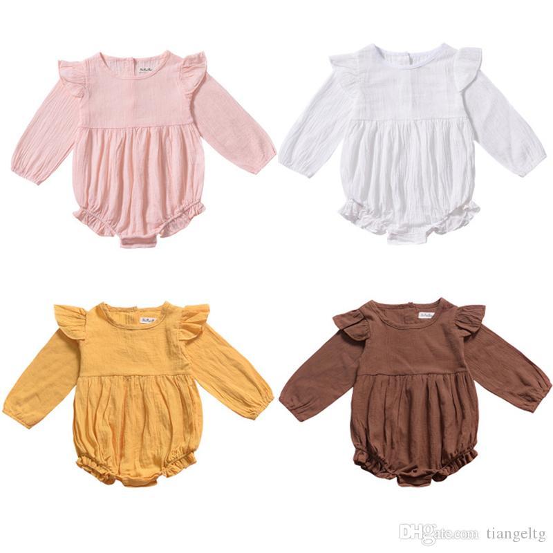 아기 여자 솔리드 장난 꾸러기 4 색 긴 소매 라운드 넥 코튼 프릴 레이스 점프 수트 싱글 브레스트 키즈 바디 수트 소년 의상 0-3T
