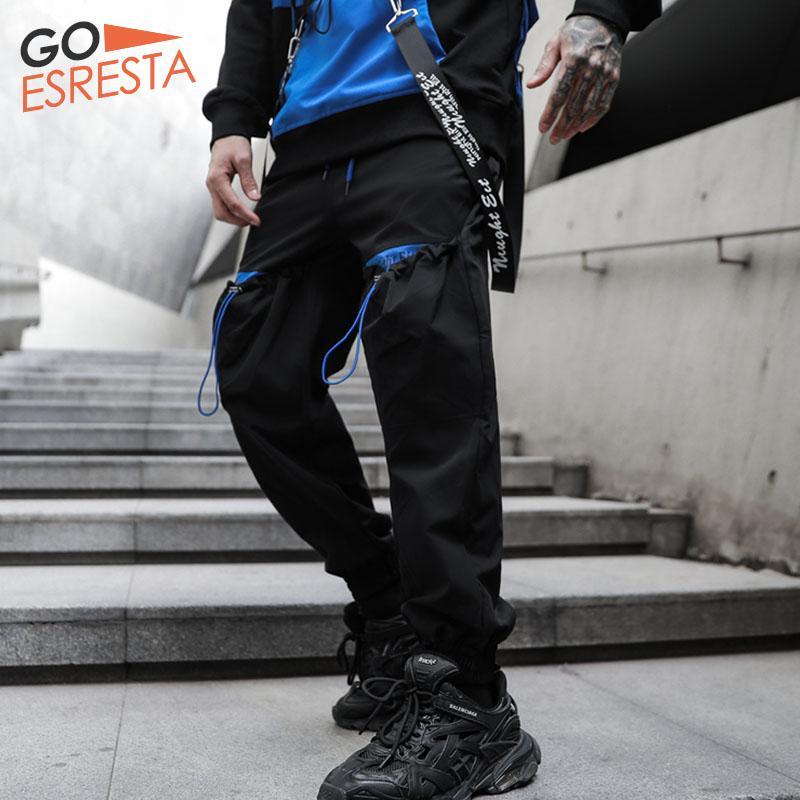 Мужские брюки повседневные грузы мужские винтажные хип-хоп японская уличная одежда гарем брюки мода свободные бегуны спортивные штаны мужчина одежда лето
