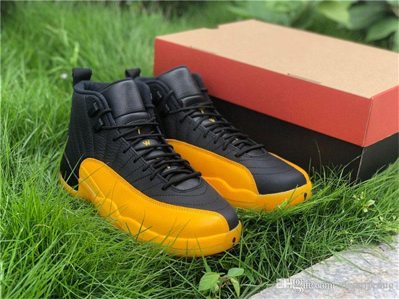 2020 Лучшие Аутентичные 12 Black University Gold 12S Real Carbon Fiber 130690-070 мужские ботинки баскетбола Открытый кроссовки 23 с оригинальной коробке