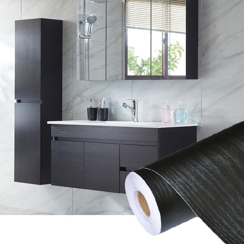 PVC auto adesivo impermeável preto madeira papel de parede roll para mobiliário porta desktop armários guarda-roupa papel de contato de parede