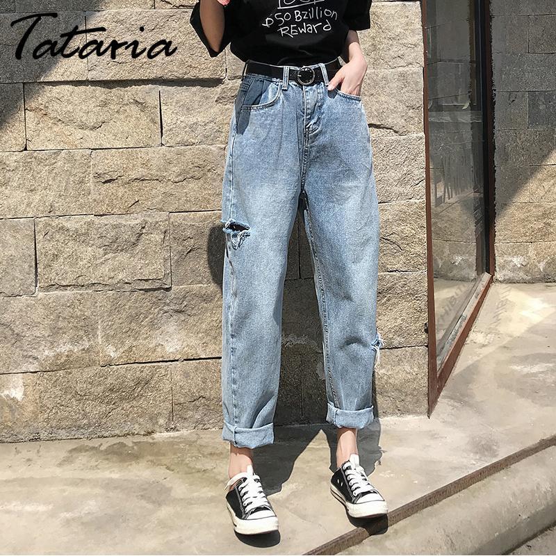 Compre Tataria Agujero De Las Mujeres De Los Pantalones Vaqueros De Talle Alto Flojo Harem Jeans Mujeres Novio Ocasional Curl Dril De Algodon Pantalones Anchos De La Pierna Femenina Rasgado Retro A