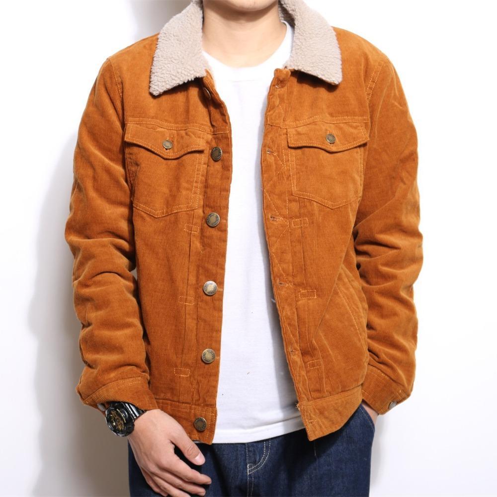 NIANJEEP 2018 winter jacket men Winter Thicken Warm Lamb Wool Fleece Lining Denim Jacket Men Coats Hip Hop Coat Corduroy