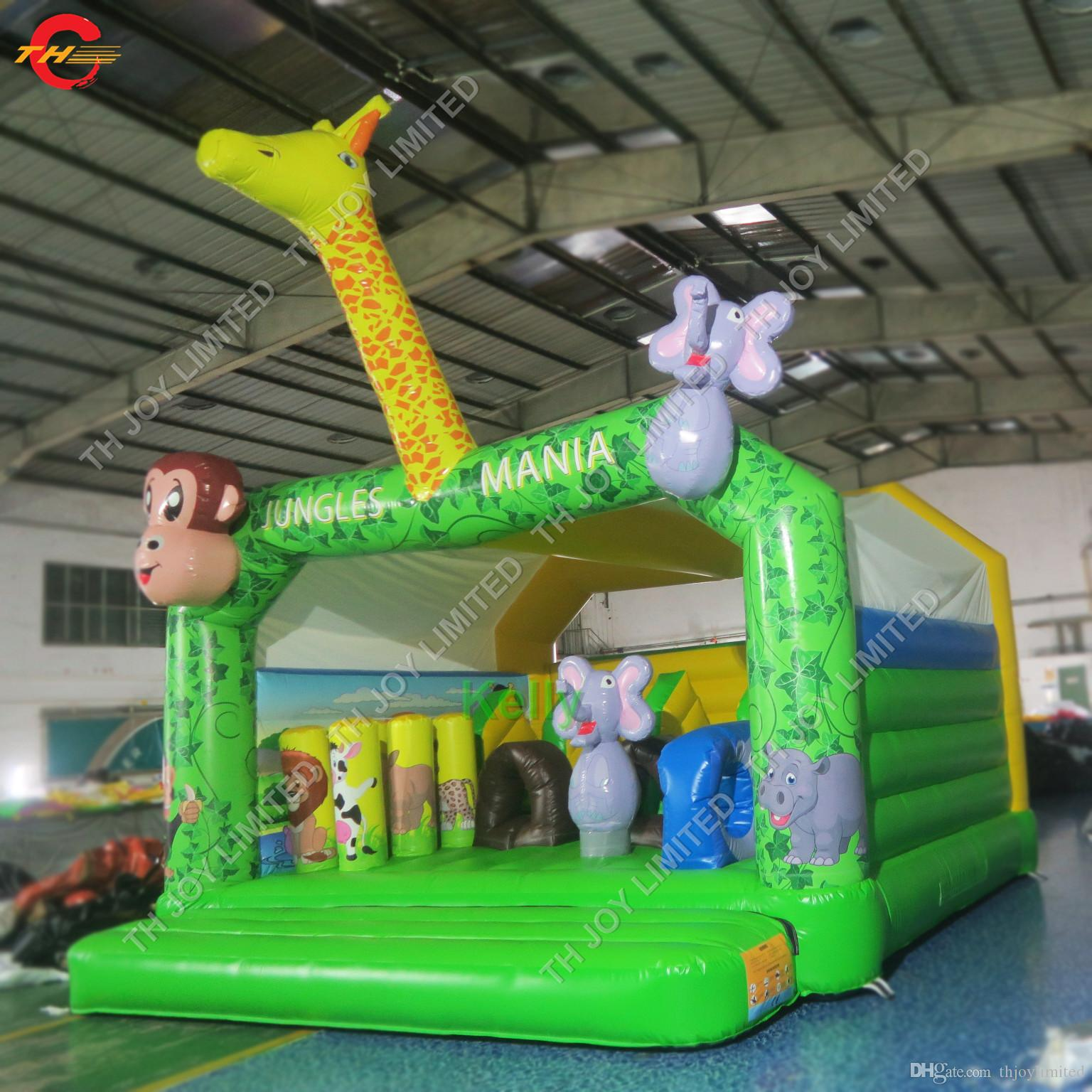 cheap jungle animal inflatable bouncer moonwalk monkey giraffe elephant inflatable bounce house jumping house bouncy castle
