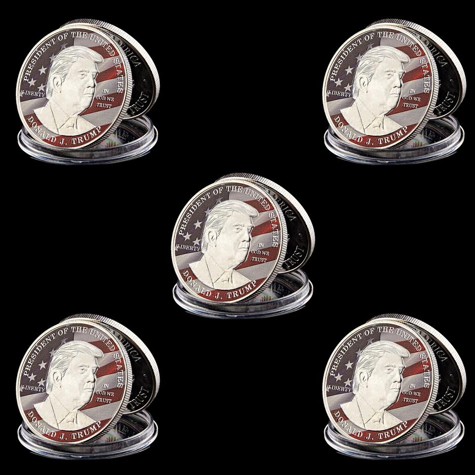 5pcs American President Donald Trump Liberty In God We Trust Silver Plated 1oz Commemorative Novelty Coin