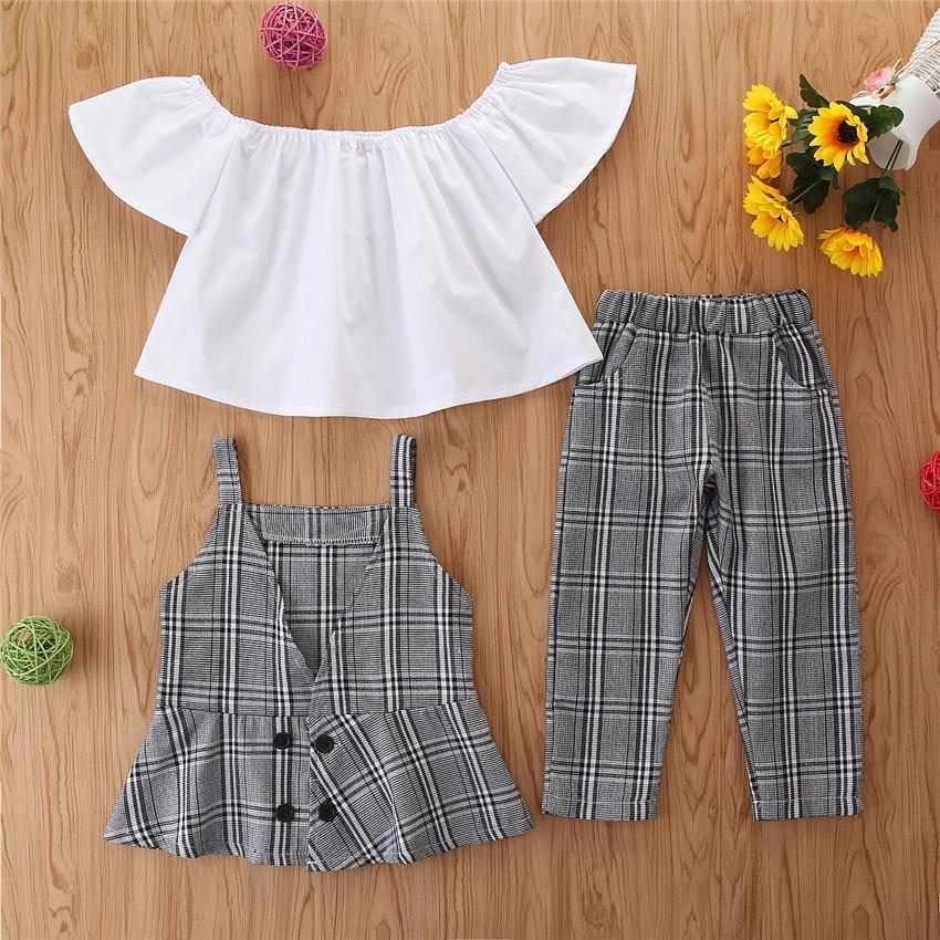 2020 новорожденных девочек одежда установить решетки жилет брюки белый топ лето свободного покроя новорожденных девочек тонкие решетки костюм топы брюки три частей одежда ФАС