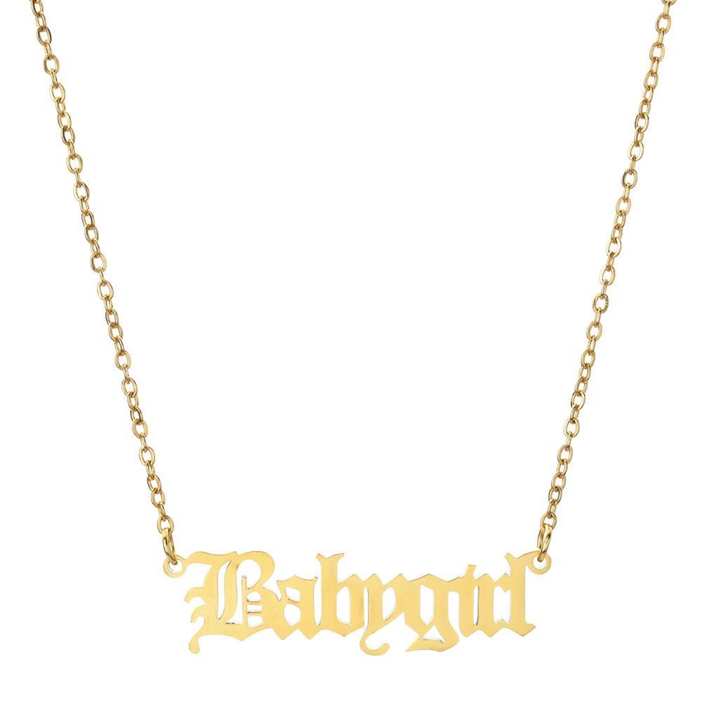 Новая Древние Babygril Угол Принцесса Письмо Ожерелье для женщин девушки из нержавеющей стали Старого английского ожерелья друзей партии ювелирных изделий подарка