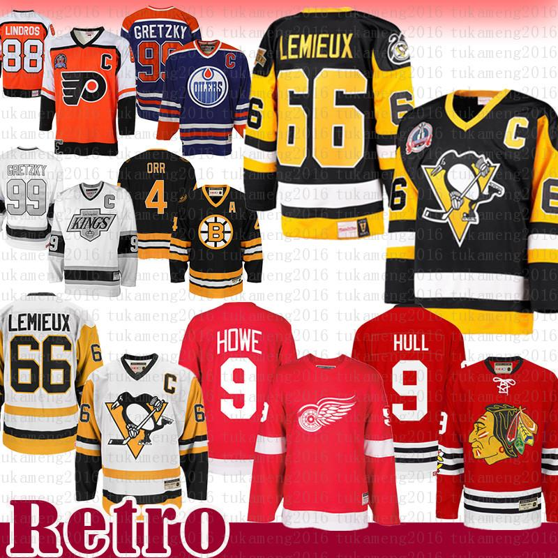 TOP VENDA Mario Lemieux 66 Pittsburgh Penguins Hockey Jersey CCM 9 Bobby Hull Chicago Blackhawks Gordie Howe Detroit Red Wings Jerseys cuidados