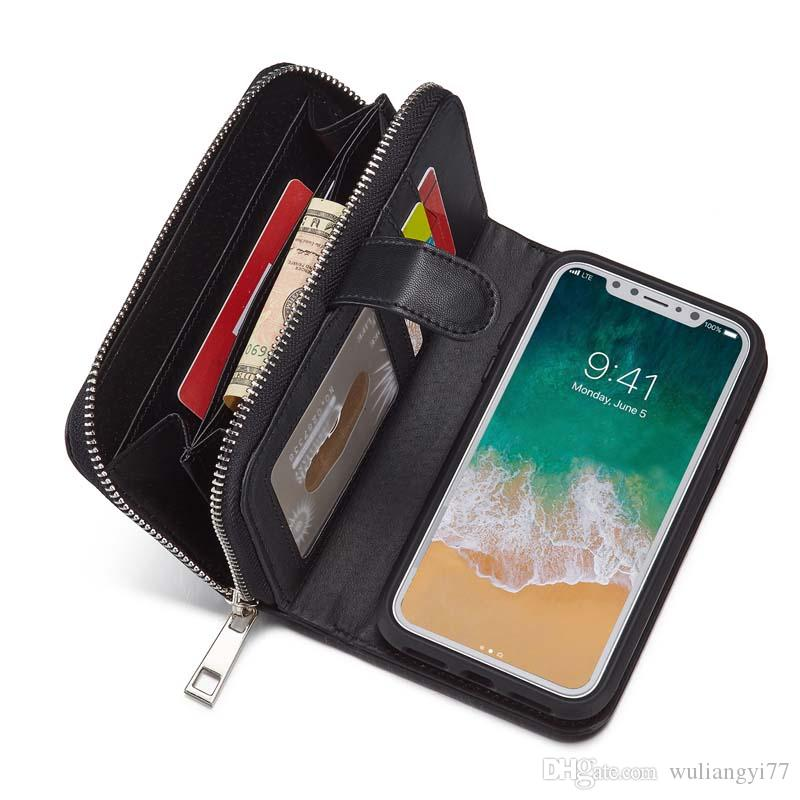 BRG Portable Zipper Wallet PU Woven Leather Case for Iphone Xs X With 2 in 1 Magnetic Cases For iPhone Xs Max 6 7 8 plus Lady Purse