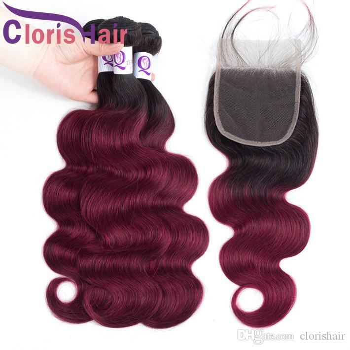 RAW Indian Virgin Body Wave 3 Bundles avec fermeture Bourgogne Ombre Cheveux Humains Tissu Fermeture 4pcs Extensions de couleur rouge Preflinée