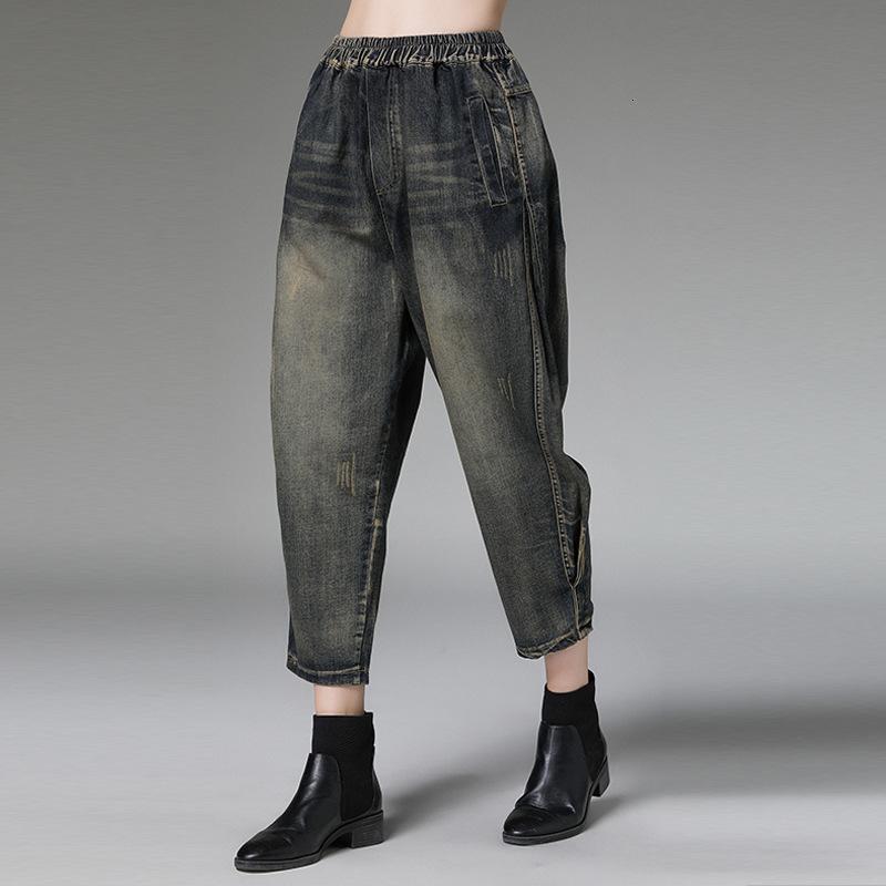 MEVGOHOT 2019 New Woman Plus Size elastico cintola denim Harem Vintage tasche Decolorate graffiato Femme Jeans HC010